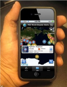 a picture of a hand holding an iphone with the screen displaying the Disaster Alert in the PDC app.