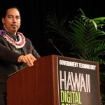 CIO Keone Kali delivering the opening remarks at the 2014 Hawaii Digital Government Summit