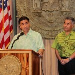 CIO Todd Nacapuy and Governor David Ige speaking at a news conference