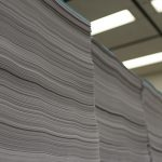 Rows of stacked paper