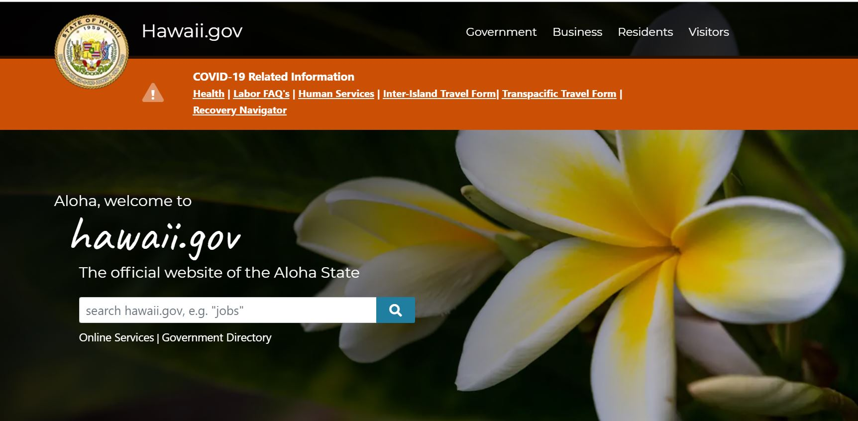New ehawaii.gov homepage